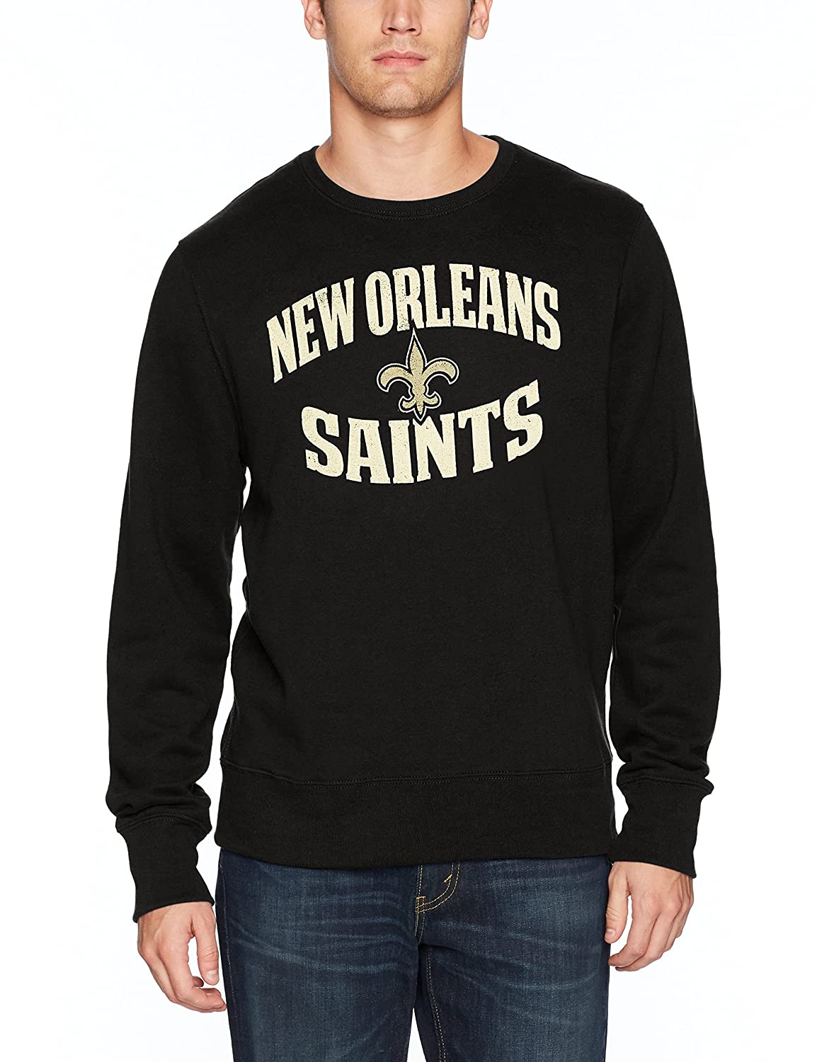 Small OTS NFL New Orleans Saints Mens Fleece Crew Distressed Marbleton