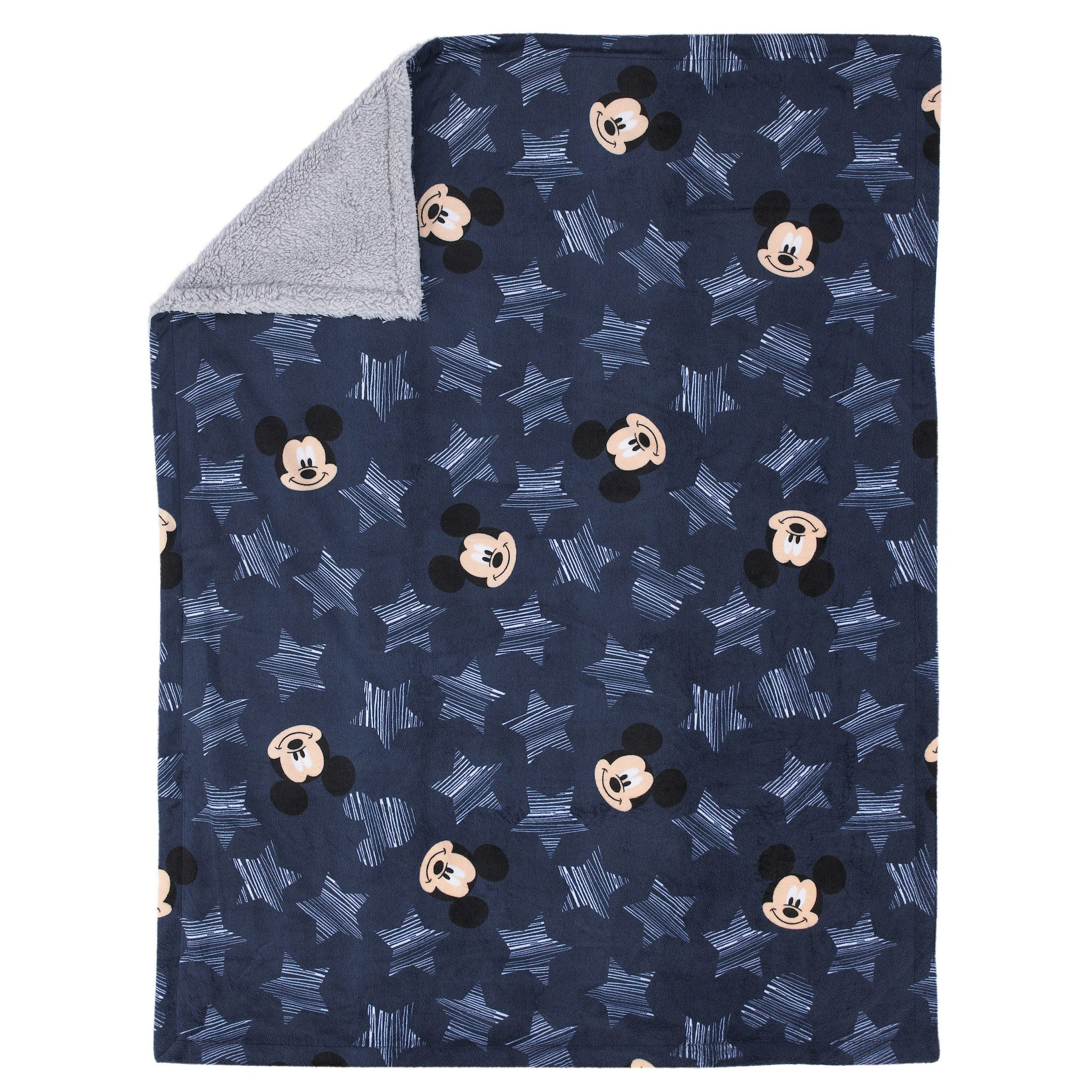 Disney Baby Mickey Mouse ''Hello World'' Velour and Sherpa Navy/ White and Grey Baby Blanket