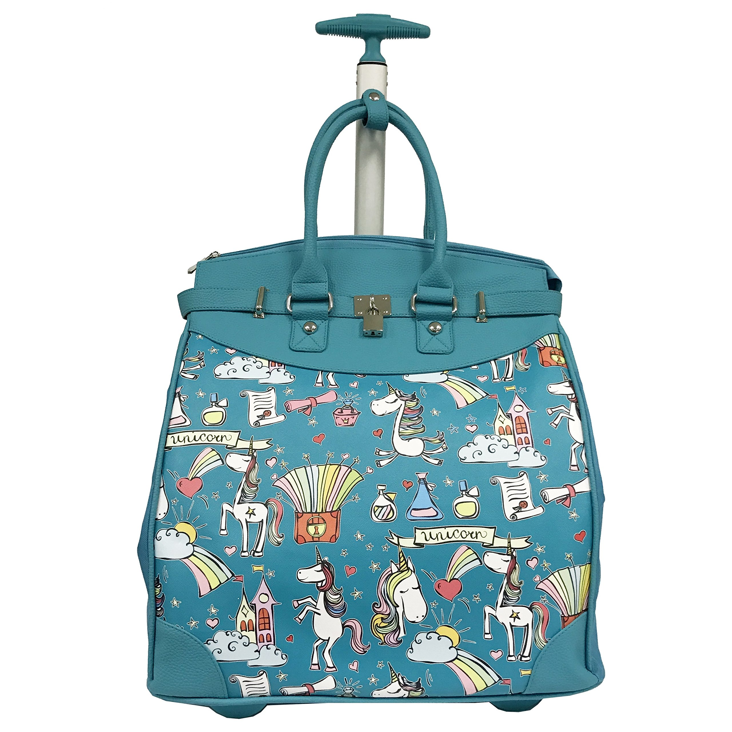 Magical Castel Unicorn Motif Carry On Rolling Foldable Laptop Tote, Softside Graphic Rainbow Animals Horses Theme, Multi Compartment, Fashionable, Checkpoint Friendly Soft Travel Bag, Teal, Size 14'' by S & E
