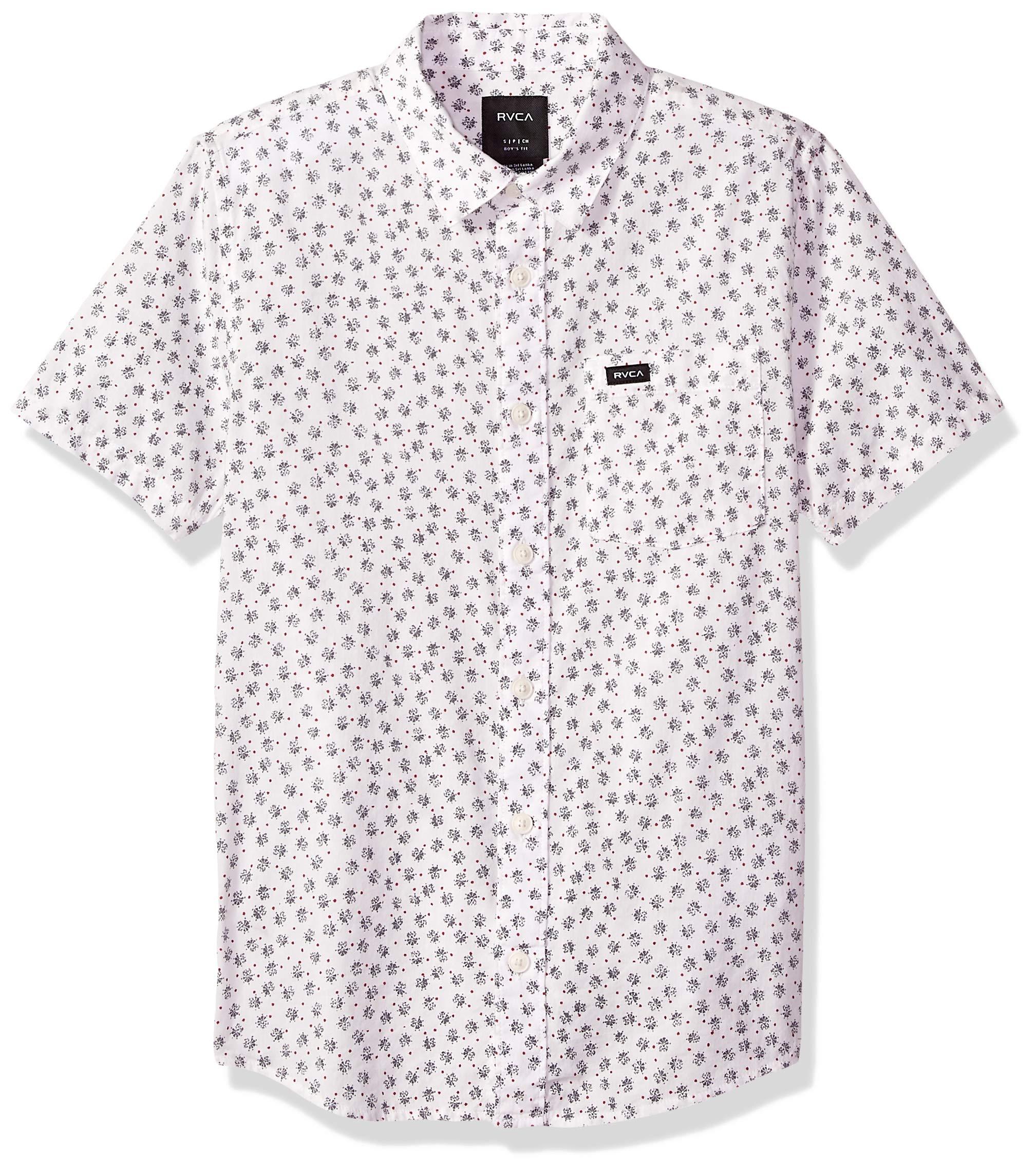 RVCA Boys' Big FICUS Floral Short Sleeve Woven Button UP Shirt, Antique/White, XL