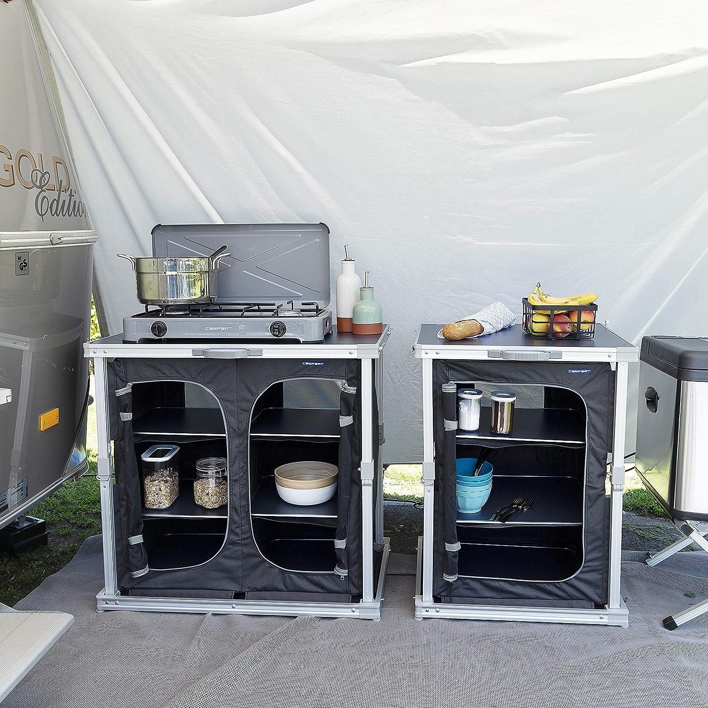 CAMPART Travel Armario doble Toledo de Camping KI-0758, Seis compartimentos, Color negro