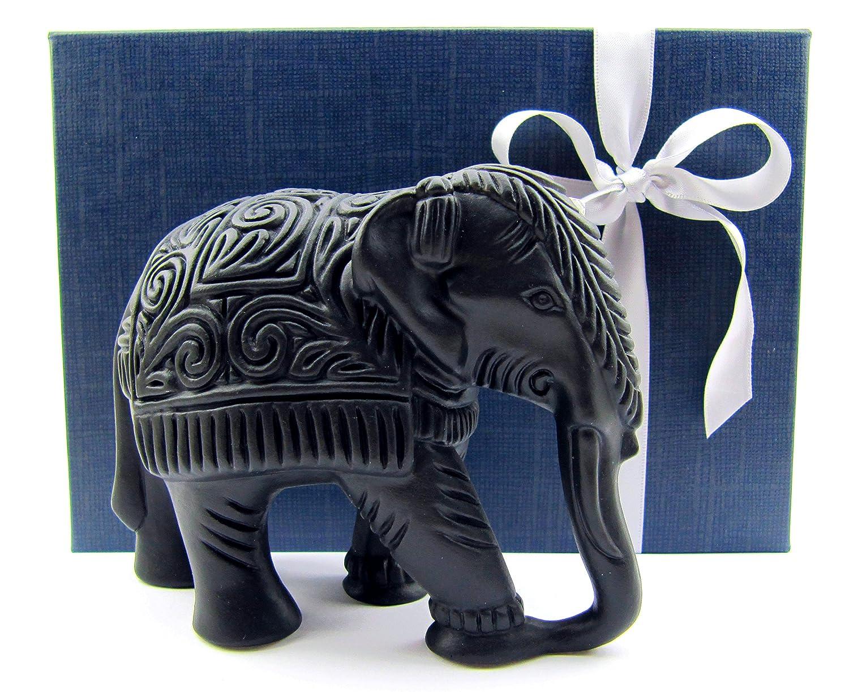 Amazon.de: Deko Elefant, Elefanten Figur mit aufwendiger Gravur ...