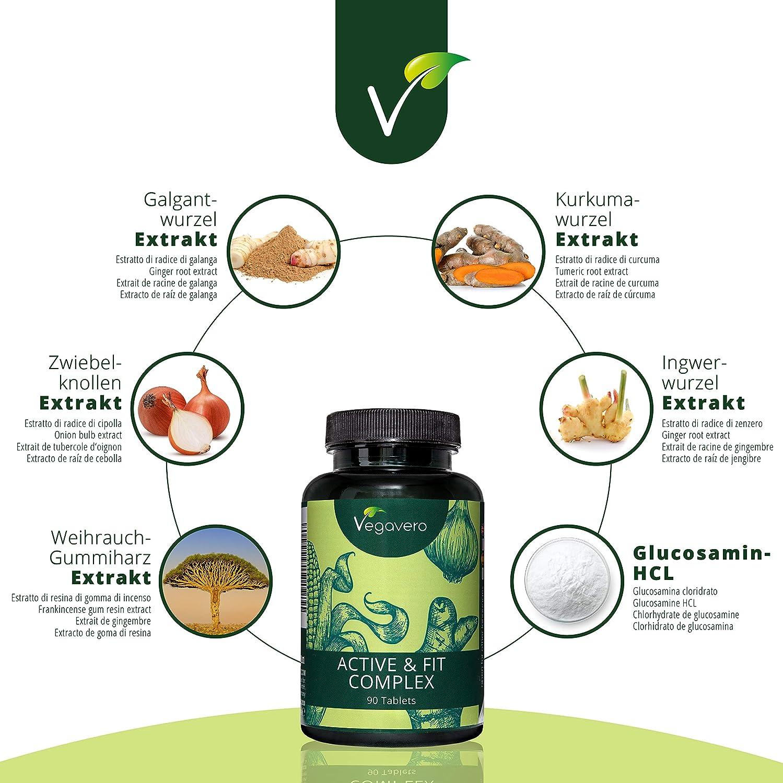 Suplemento Para Articulaciones: Glucosamina + Boswellia + Cúrcuma + Jengibre | 90 Comprimidos | SIN ESTEARATO DE MAGNESIO | Vegano | Active & Fit Vegavero: ...