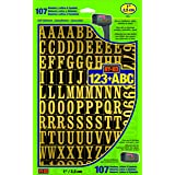 """Hy-Ko Products MM-2 Self Adhesive Vinyl Numbers and Letters 1"""" High, Black & Gold, 107 Pieces, Package may vary"""
