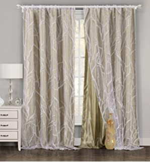 Exceptional One Piece (1) Taupe And White Window Curtain Panel: Tree Branch Design,