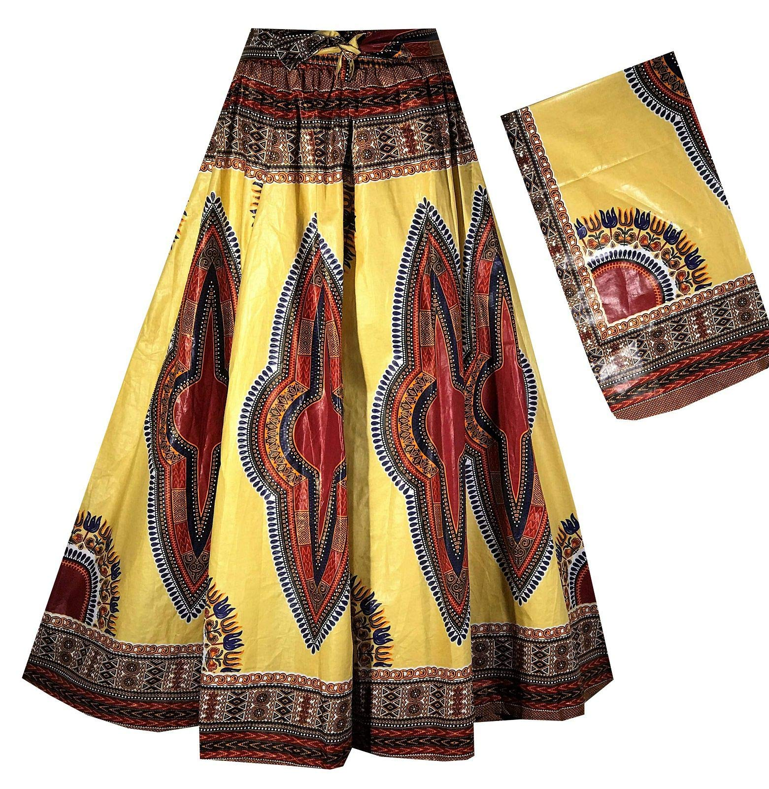Decoraapparel Women's African Dashiki Maxi Skirt Long High Waist Skirt One Size (Pastel Yellow Red Thick Fabric 174'' Sweep 42'' Long)