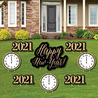 product image for Big Dot of Happiness New Year's Eve - Gold - Yard Sign and Outdoor Lawn Decorations - 2021 New Years Eve Yard Signs - Set of 8