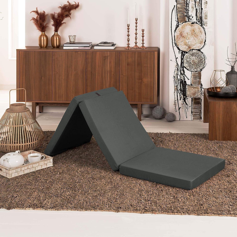 Beautissu Cómodo colchón Plegable Campix Auxiliar futón 60 x 190 x 7 cm Ahorra Espacio Tela Microfibra Antracita: Amazon.es: Hogar