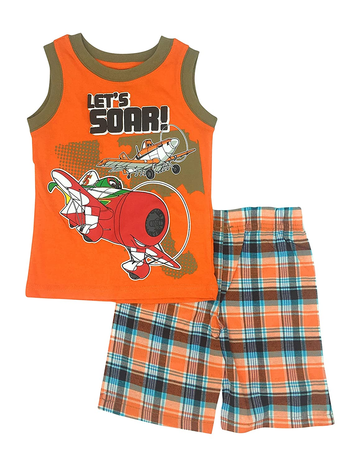 Toddlers Tank Muscle Short Set Sizes 2T-4T Disneys Planes Lets Soar 3T
