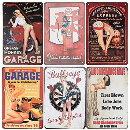 82c658e93409f Amazon.com  Juvale 6-Piece Tin Signs - Vintage Style Metal Signs As ...