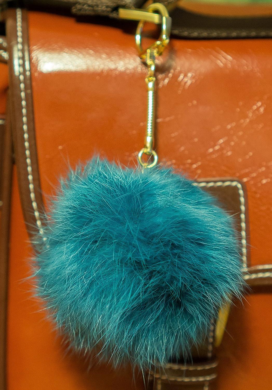 Llavero en forma de pompón de forro, 3 x 2, 8 cm, diseño elegante  azul marino Pompom diameter: 8cm,...