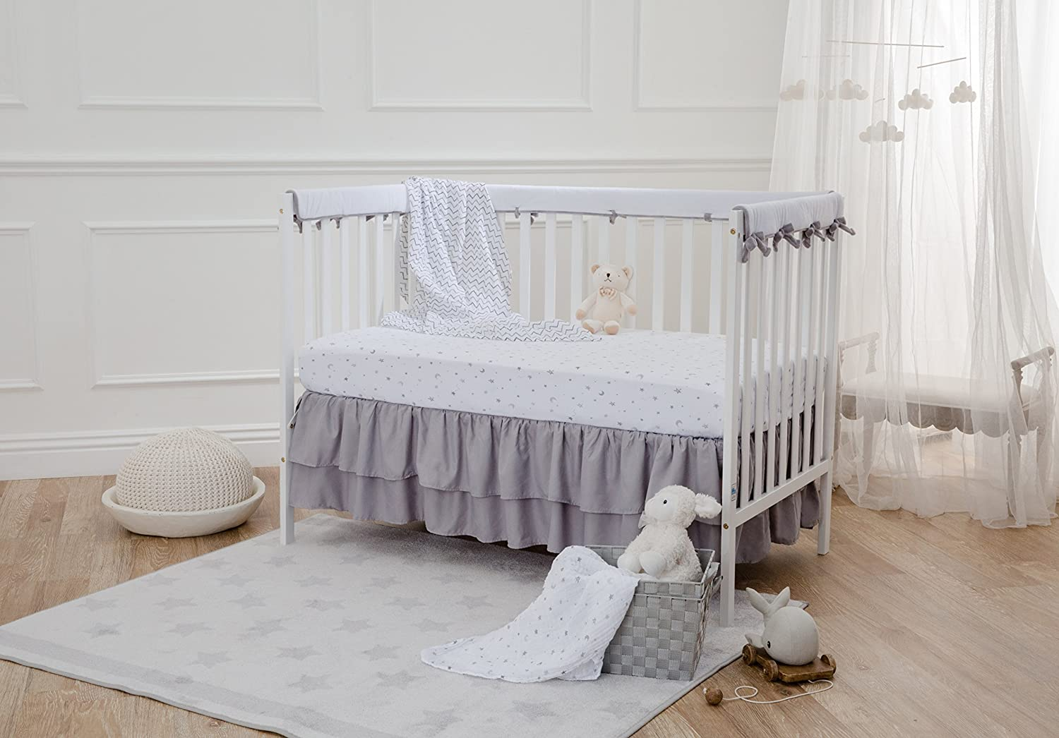 American Baby Company Heavenly Soft Narrow Reversible Crib Cover Set for 1 Long Rail /& 2 Side Rails Measuring up to 4 folded Gray//White