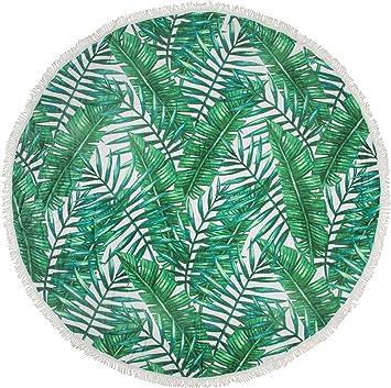 styleBREAKER Redonda Toalla de Playa Palmera con Diseño de Hojas, Flecos Toalla, Unisex 05050066, poliéster, Verde y Blanco, d=150cm: Amazon.es: Hogar