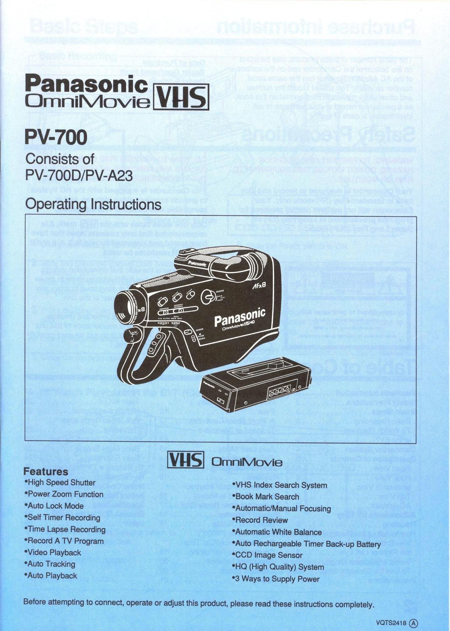 Panasonic vcr user manuals ebook array panasonic omnimovie vhs pv 700 pv 700d pv a23 instruction manual rh amazon com fandeluxe Gallery