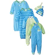 Gerber Baby Boys 6 Piece Gown, Cap (0-6M), and Sleep'n Play (0-3M) Gift Set, Car and Stripe, Newborn