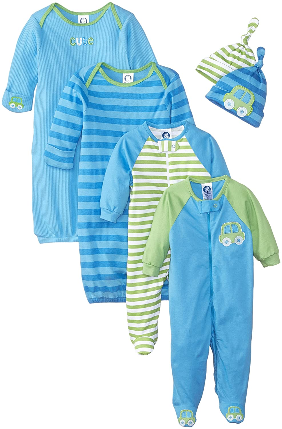 Gerber Baby Boys 6 Piece Gown, Cap (0-6M), and Sleep'n Play (0-3M) Gift Set, Car and Stripe, Newborn Gerber Children' s Apparel 84948616AB15AST