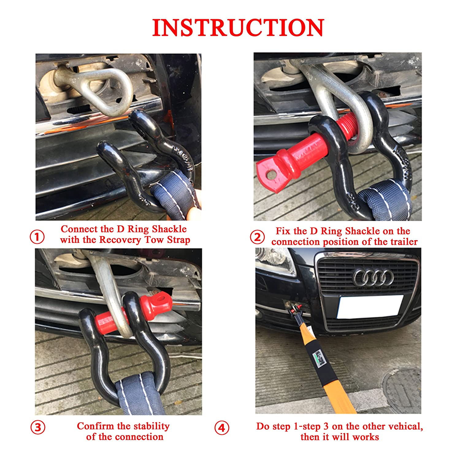 Breaking Strength For Vehicle Recovery,Tow Strap Hooks 42,990 lbs iztor 5//8 D Ring bow Shackle Isolator 2 Pk Unbreakable 19.5 Tons