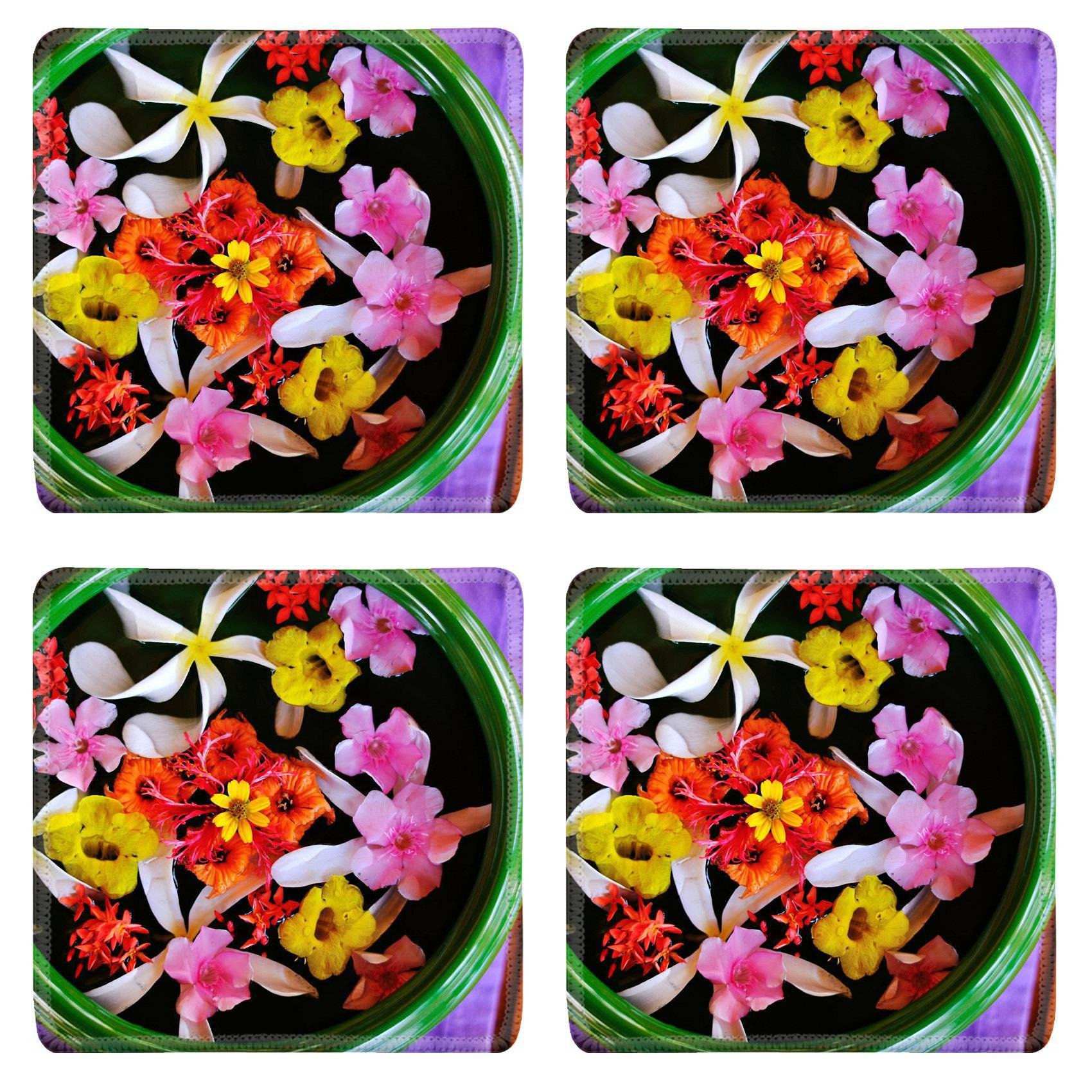 MSD Square Coasters Non-Slip Natural Rubber Desk Coasters design 20580754 ll water cup with beautiful flowers a variety of background colors in spa health and
