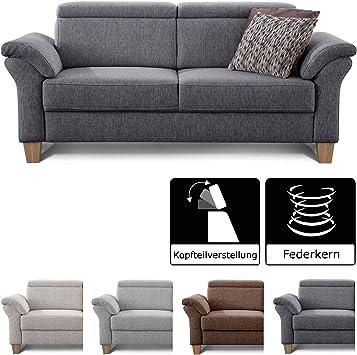 Cavadore 3 Sitzer Sofa Ammerland Couch Mit Federkern Im Landhausstil Inkl Verstellbaren Kopfstutzen 186 X 84 X 93 Strukturstoff Grau Amazon De Kuche Haushalt