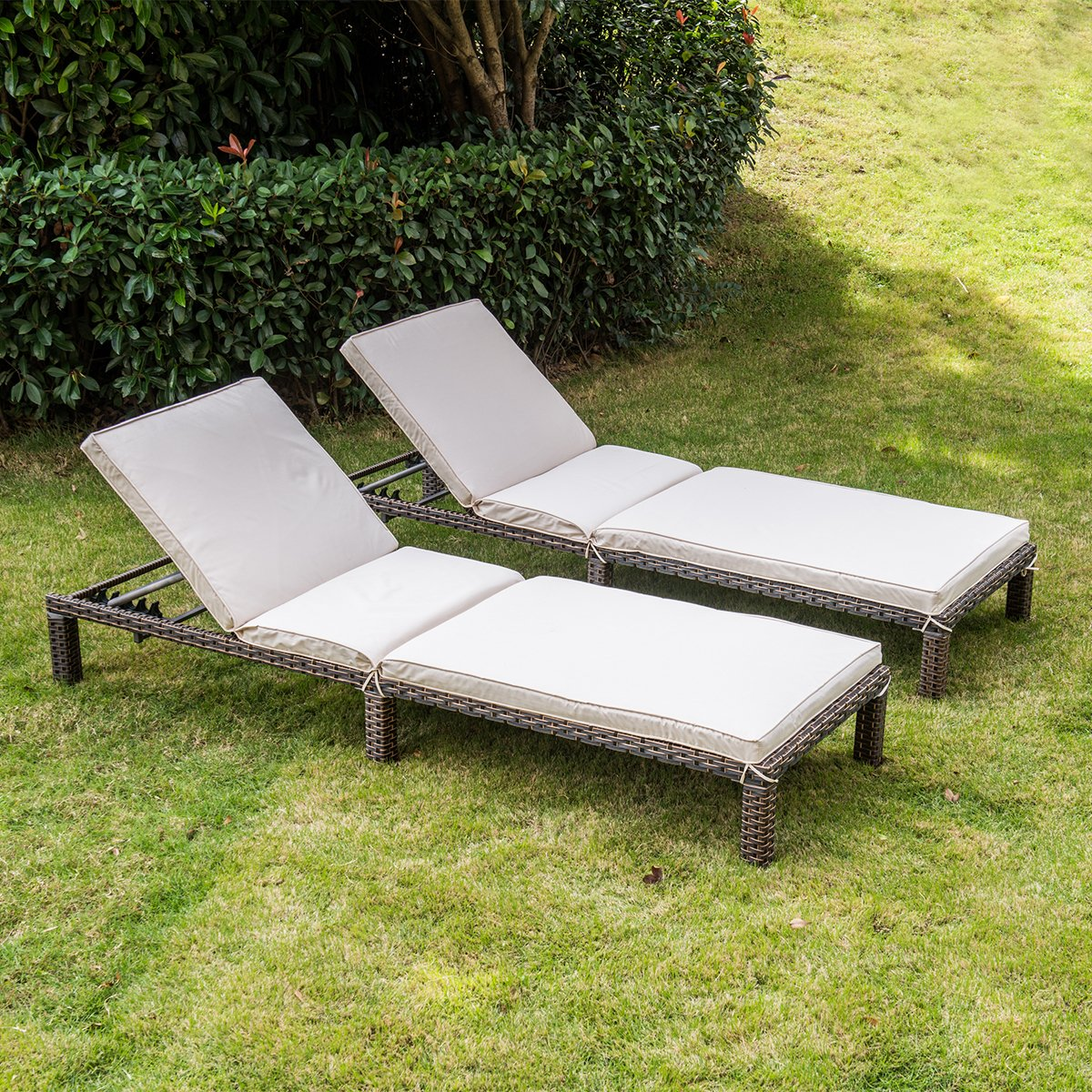 MAGIC UNION Patio Adjustable Wicker Chaise Lounge with Cushions Sets of 2