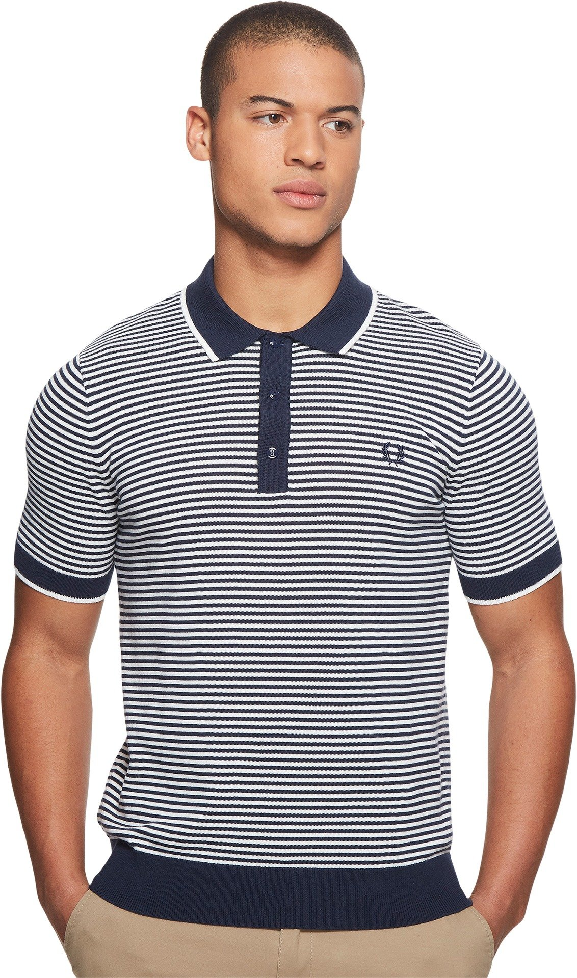 Fred Perry  Men's Fine Stripe Knitted Shirt Deep Carbon X-Large