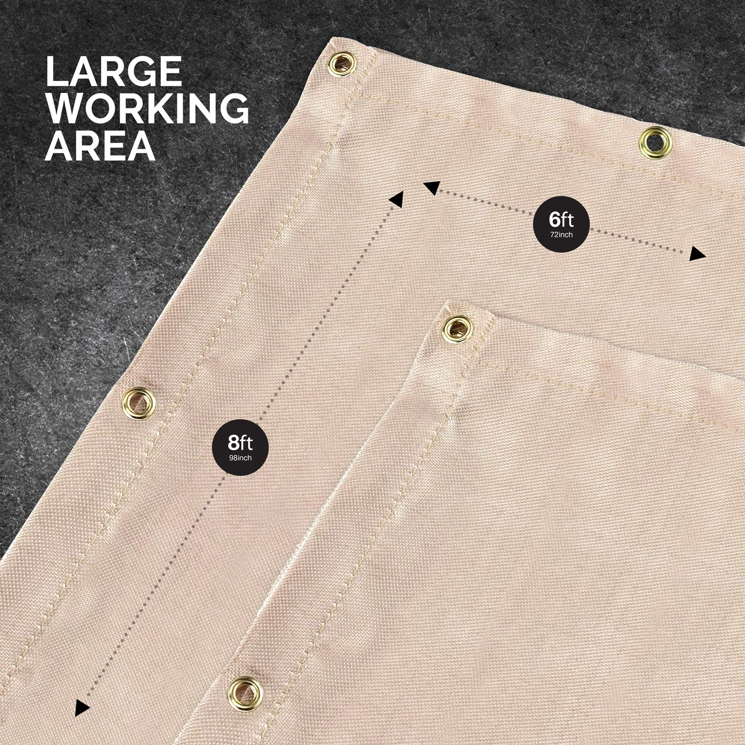 Neiko 10909A Fiberglass Welding Blanket and Cover, 6' x 8'   Brass Grommets for Easy Hanging and Protection by Neiko (Image #6)