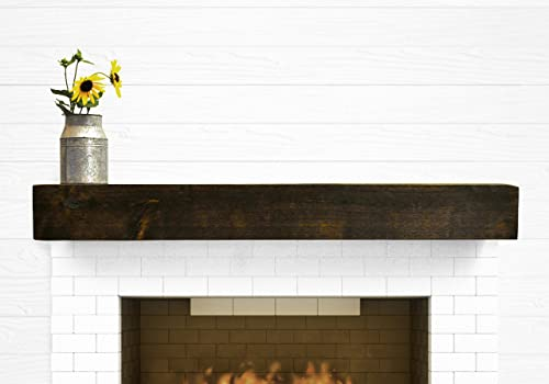 Dogberry Collections Modern Farmhouse Mantel Shelf, 60 , Dark Chocolate