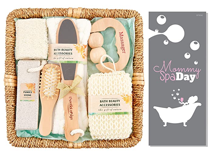 Spa Sets for Women, Mother's Day Relaxation Gift Basket, Spa Kits for Women, Body Brush Set, Spa Accessories for Women, Exfoliating Brush, Body Exfoliating Brush, At Home Spa Kit (7 Piece Set)