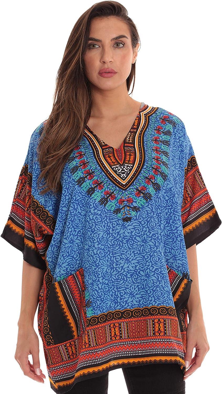 Riviera Sun Dashiki Shirt for Women with Pockets African Tribal Print Boho Top