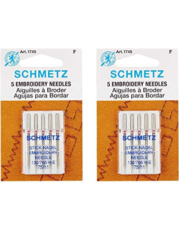Euro-Notions Embroidery Machine Needles, Size 11/75, 5-Pack (