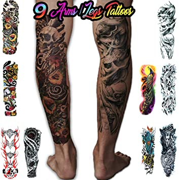 ea815f3d2 Amazon.com : 8 Temporary Tattoos Full Arm and Leg Long Sleeve Tattoo Body  Art - For Adults and Teens (Colorful) : Beauty