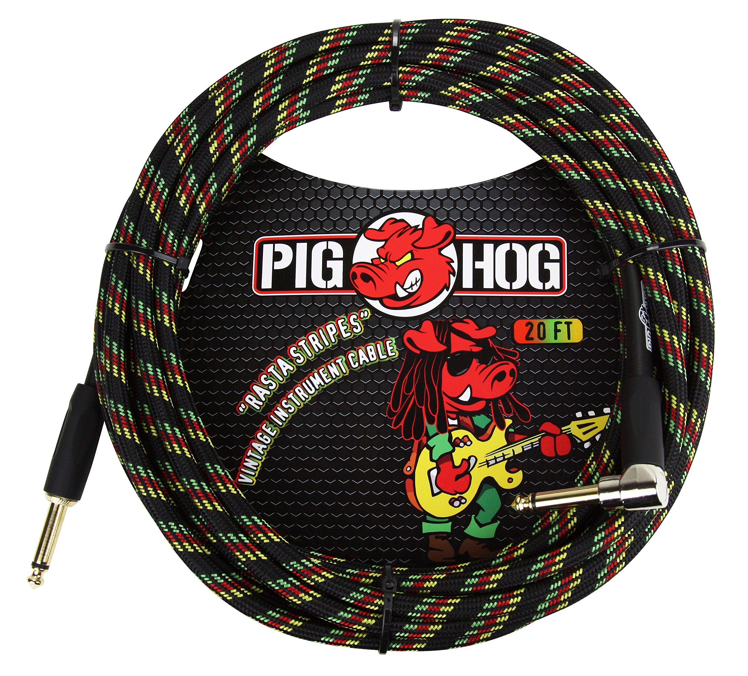 Pig Hog PCH20RAR Right-Angle'' to 1/4'' Rasta Stripes Guitar Instrument Cable, 20 Feet