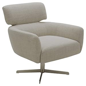 "Rivet Adrienne Swivel-Base Contemporary Living Room Chair, 29""W, Fabric, Stucco"