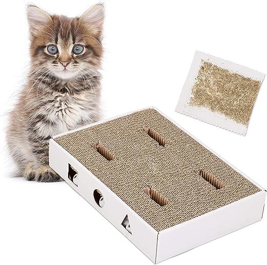 Relaxdays, Blanco, 6,5 x 35,5 x 25 cm rascador para Gatos de cartón con Pelotas con cascabeles y Hierba gatera, plástico: Amazon.es: Hogar