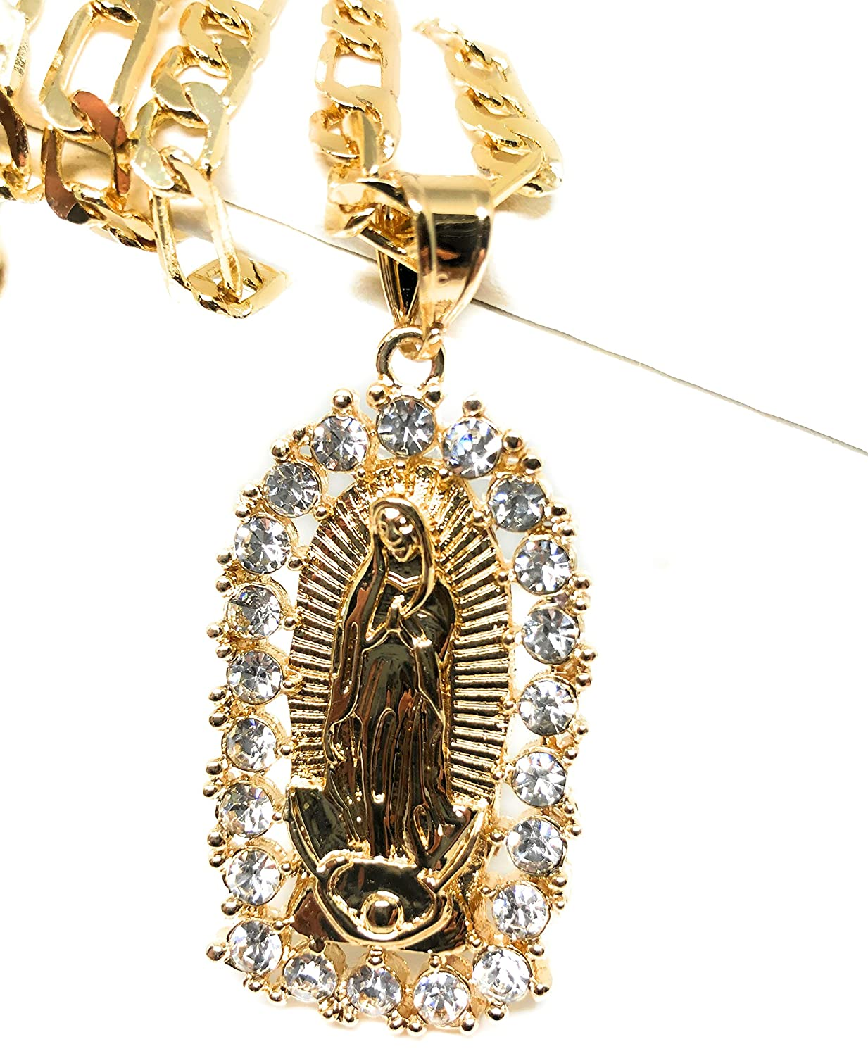 400226cca31 Amazon.com: Gold Plated Virgin Mary Pendant Necklace Figaro 26
