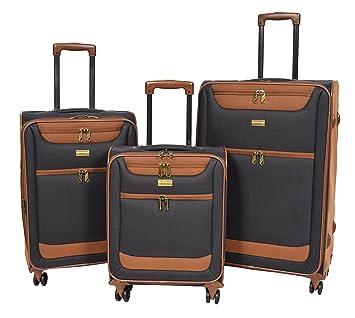 4 Roues Ensemble De Bagages Doux Faux Suede 3 Tailles Cabine / Moyen / Grand Les Valises Sac De Voyage - Earth (Marron) 0S41T7