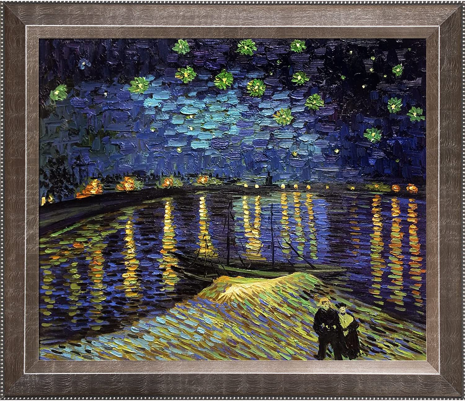 Medium overstockArt Starry Night Over The Rhone by Van Gogh with Veine D Or Pewter Angled Frame