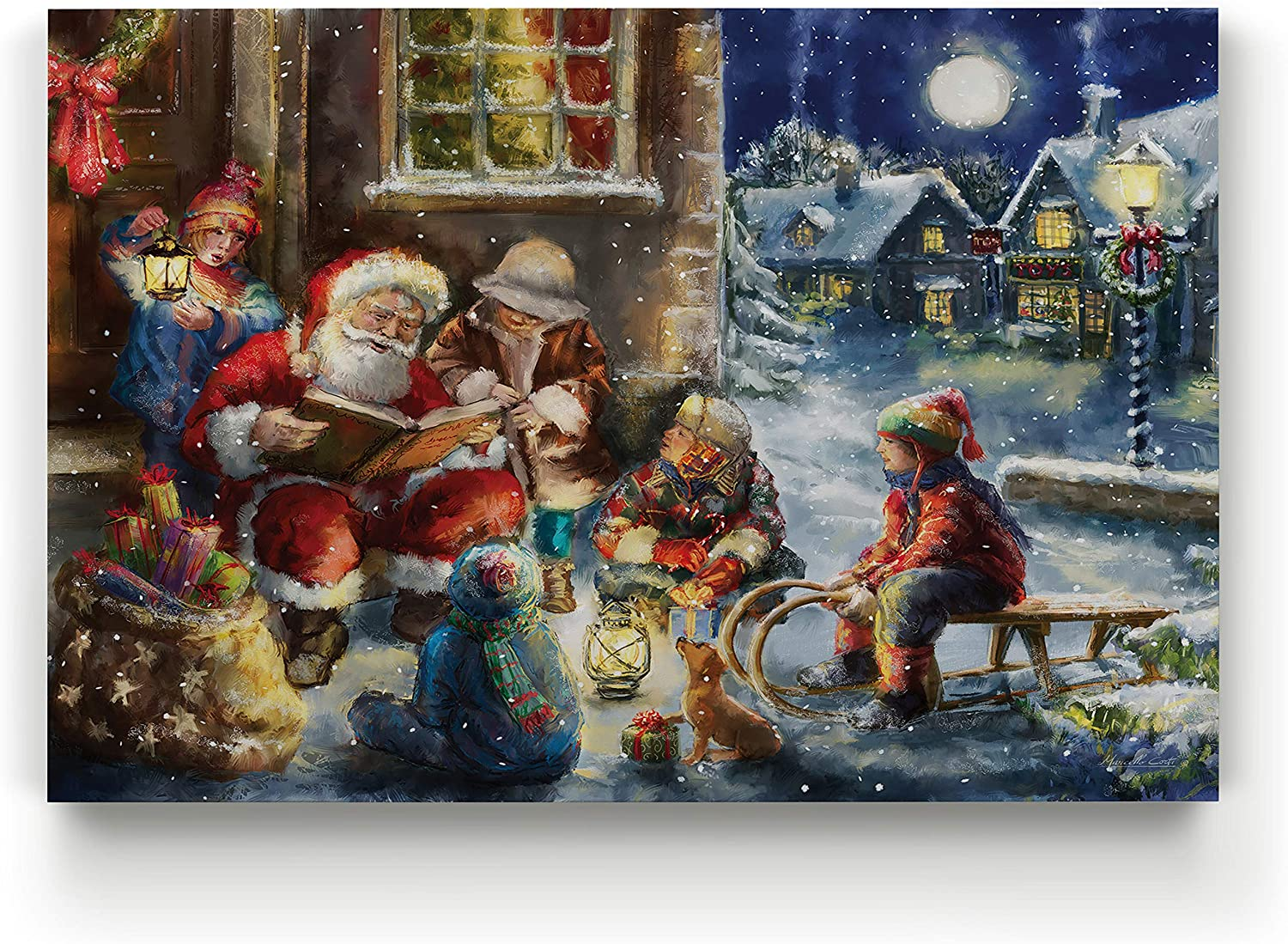 Renditions Gallery Gallery Wrapped Canvas Christmas Wall Art Print for Holiday Decor, 24x32, The Story of Santa