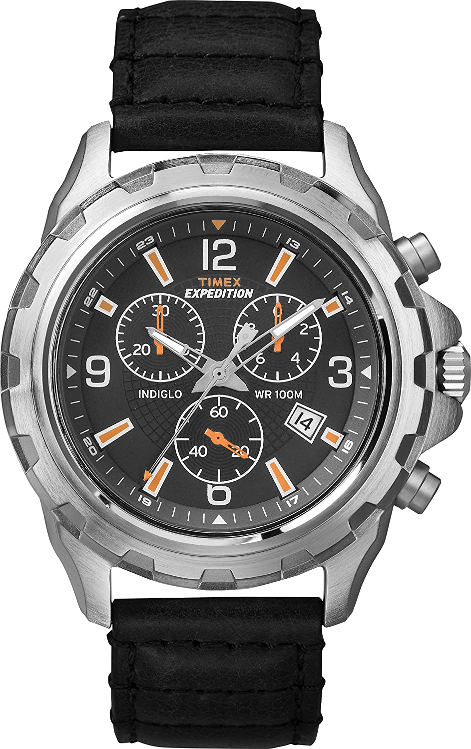 timex herren armbanduhr chronograph quarz leder t49985 ebay. Black Bedroom Furniture Sets. Home Design Ideas