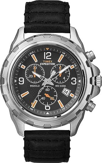 a2b23528f58d Timex Reloj Cronógrafo para Hombre de Cuarzo con Correa en Cuero T49985   Amazon.es  Relojes