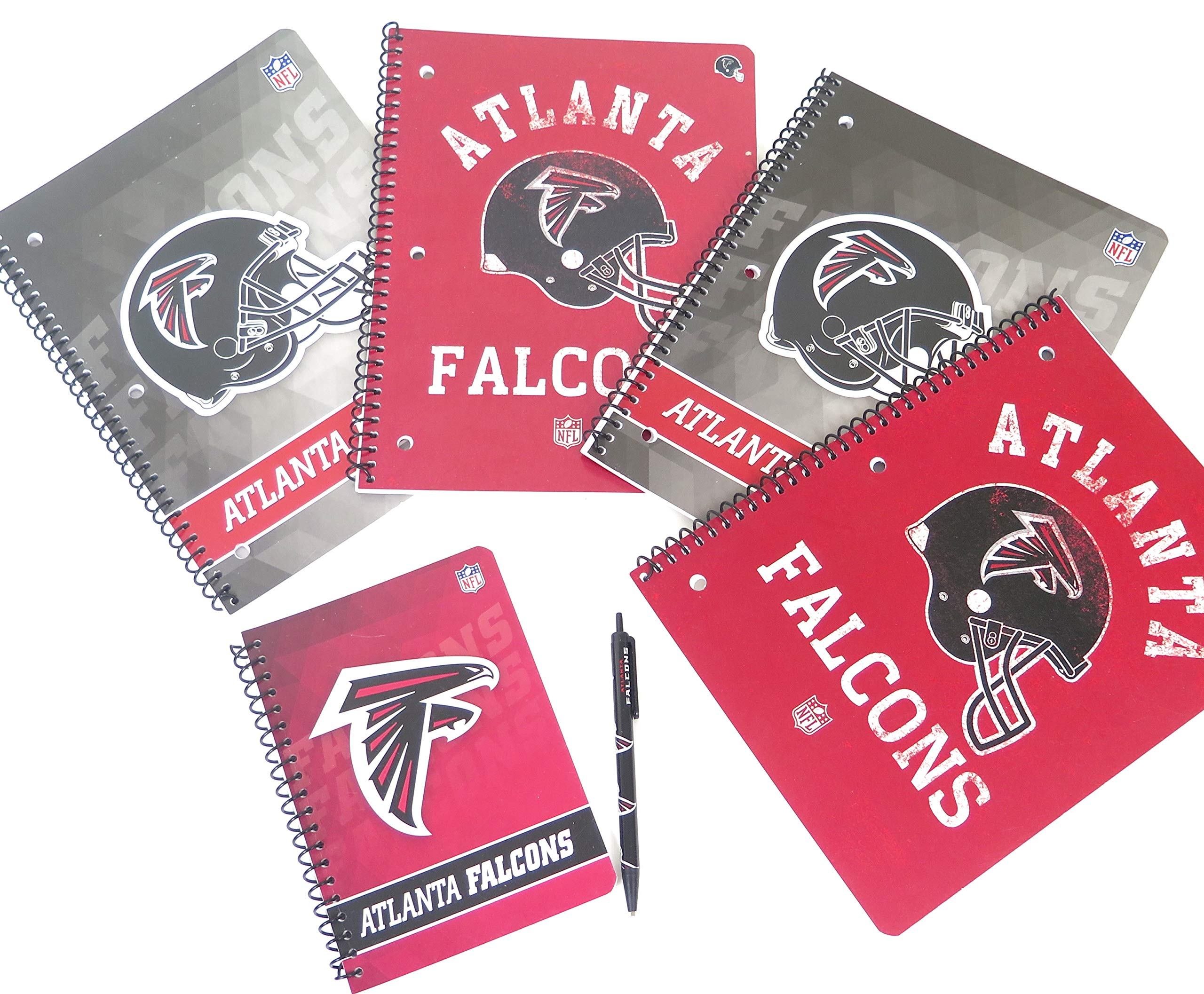 Atlanta Falcons back to school set includes ballpoint pen, 2 large spiral Single subject notebooks.