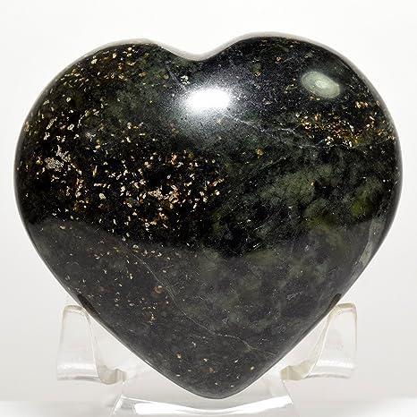 "2,75 ""verde nefrita Puffy Corazón Natural"" Jade ""Love mineral"