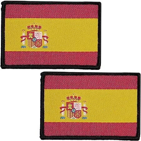 2 x Parches Bordados Bandera España con Velcro con Colores Oficiales - Escudo bordado - Parches Moteros Bordados - Parches Militares - 75 x 50 mm: Amazon.es: Hogar
