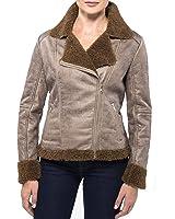 Alpine Swiss Eva Womens Faux Shearling Coat Asymmetrical Biker Jacket