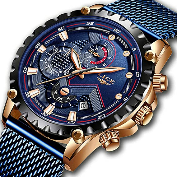 LIGE Relojes para Hombre Militar Cronógrafo Impermeable Reloj Acero Inoxidable Reloj de Cuarzo Clásico de Negocios Hombres