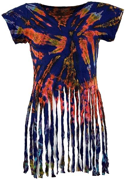 GURU-SHOP, Camiseta Hippie Batik con Flecos, Azul, Sintético, Tamaño:38, Camisetas, Camisetas, Camisetas: Amazon.es: Ropa y accesorios