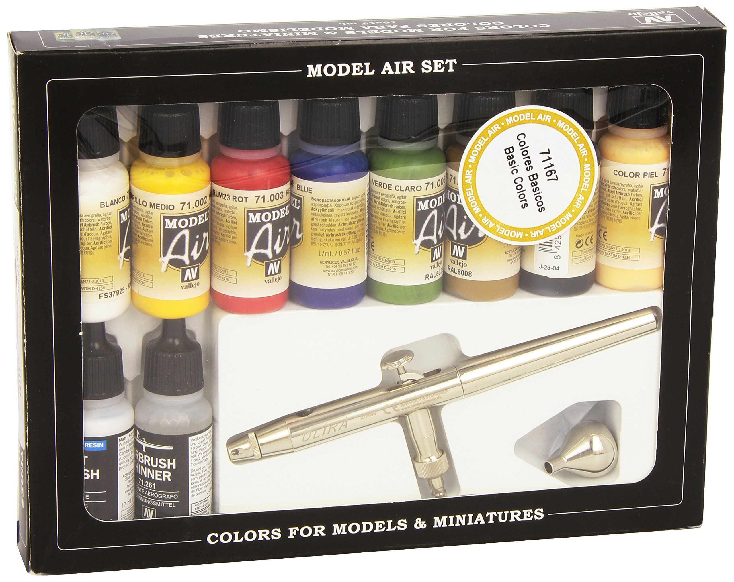 Av Vallejo Model Air Set -ultra Airbrush + 10 Basic Cols