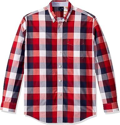Tommy Hilfiger Camisa de Manga Larga magnética Adaptable, con Botones, Ajuste clásico - Rojo - Medium: Amazon.es: Ropa y accesorios