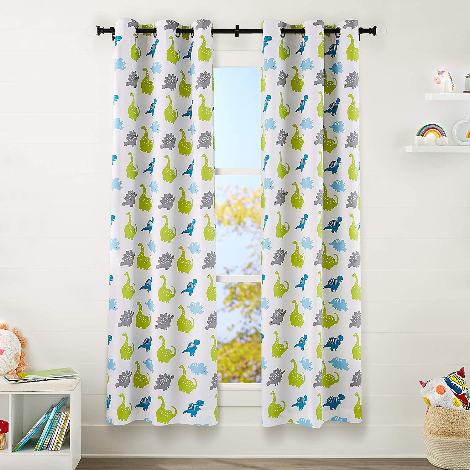 "AmazonBasics Kids Room Darkening Blackout Window Curtain Set with Grommets - 42"" x 84"", Dinosaur White Ground"