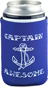 Funny Guy Mugs Captain Awesome Collapsible Neoprene Can Coolie - Ship's Wheel on Bottom